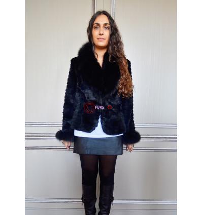 Manteau noir JOVANI Lapin et Renard