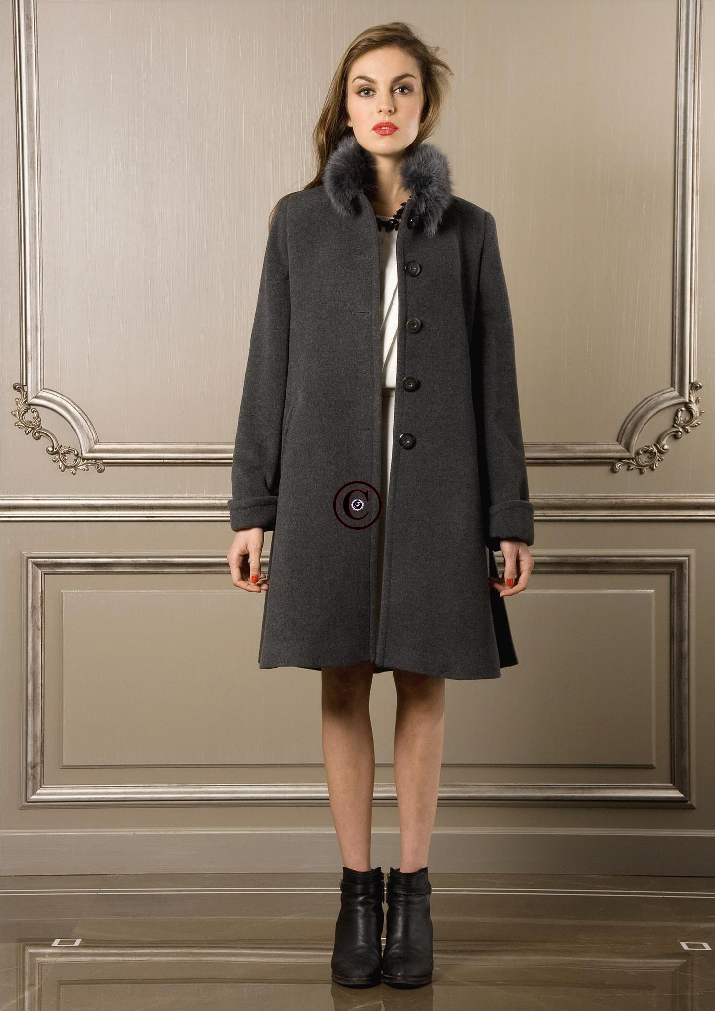 manteau gris osaka fourrure de renard. Black Bedroom Furniture Sets. Home Design Ideas