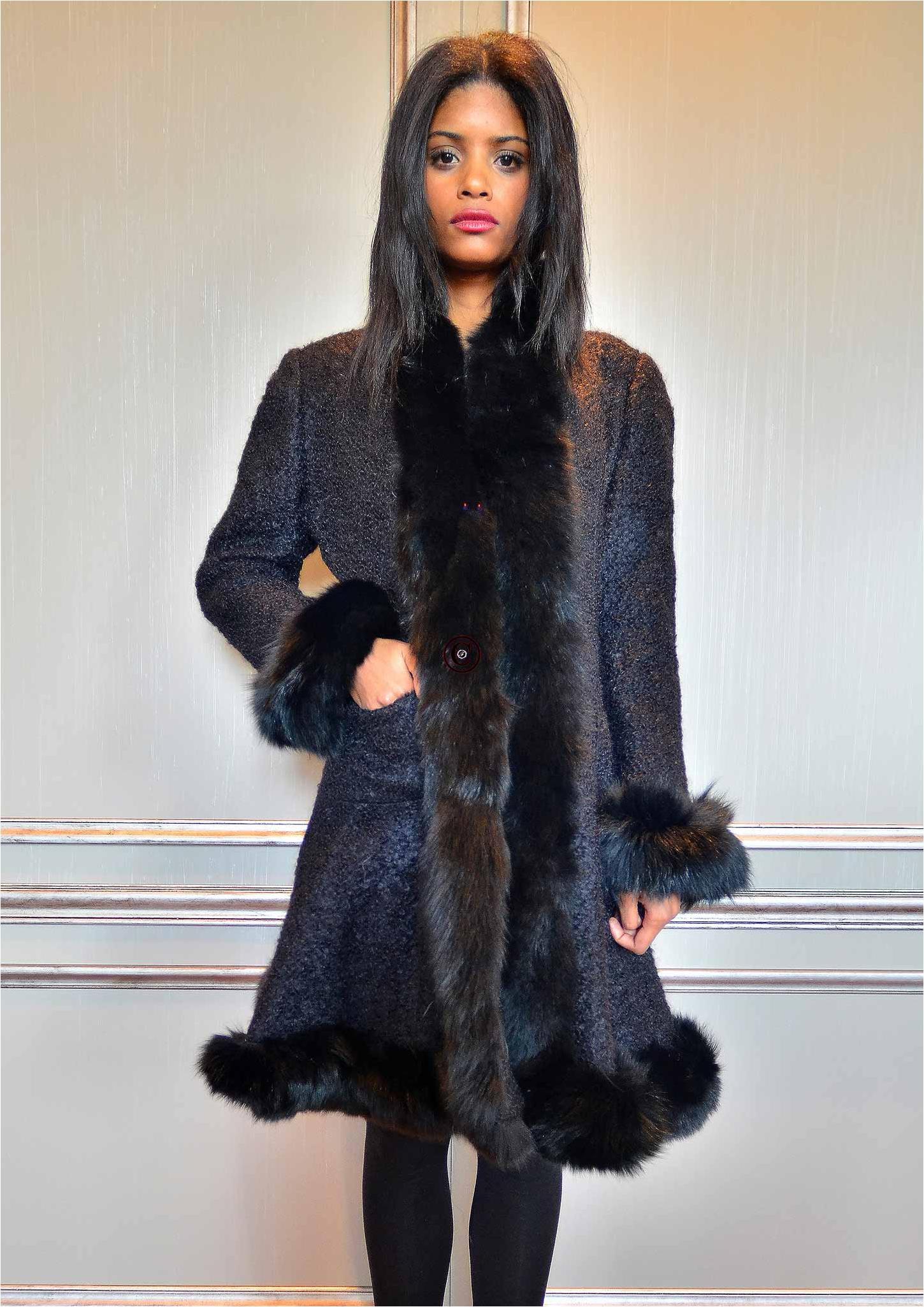 manteau noir rio fourrure de renard. Black Bedroom Furniture Sets. Home Design Ideas