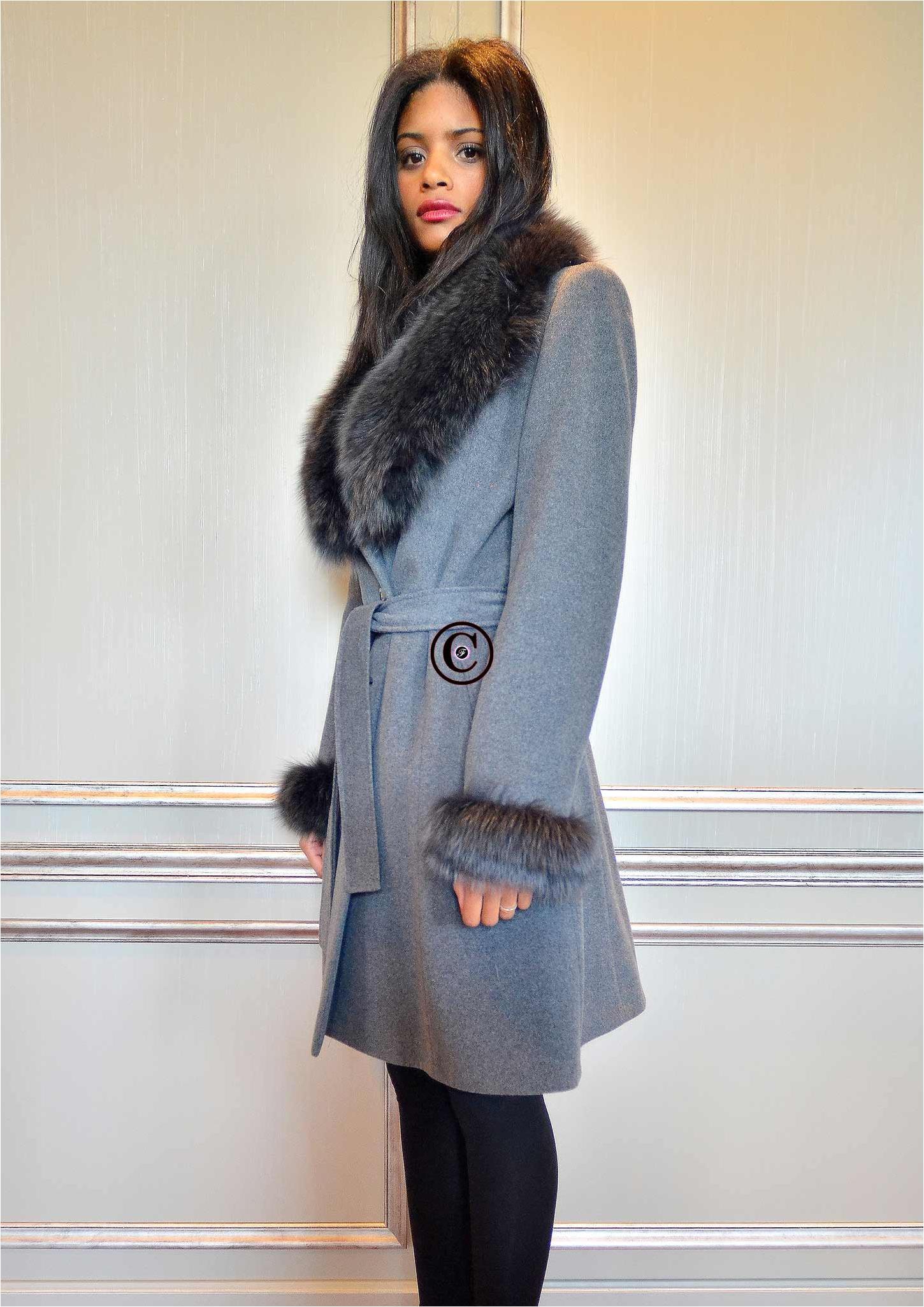 manteau gris elysa fourrure de renard. Black Bedroom Furniture Sets. Home Design Ideas