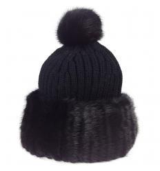 Bonnet tricôté noir en fourrure de vison