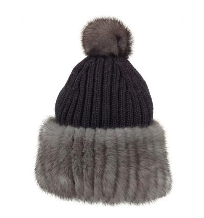 Bonnet tricôté gris en fourrure de vison