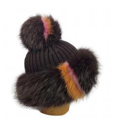 Bonnet tricôté marron en fourrure de renard