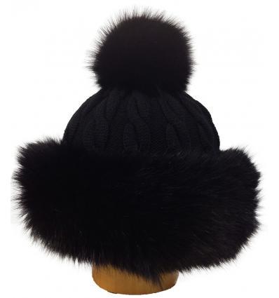 Bonnet tricôté noir avec pompon en fourrure de renard