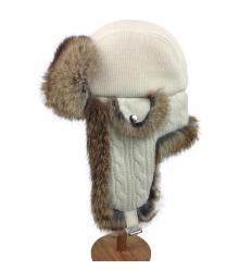 Chapka écrue en laine, cuir et fourrure de lapin