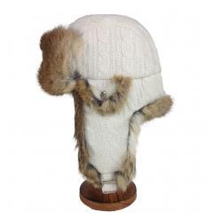 Chapka blanche en laine et fourrure de lapin