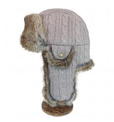 Chapka grise en laine et fourrure de lapin