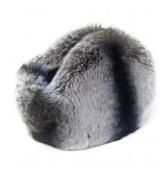 Tour de cou et cache-oreilles argenté en fourrure de rex