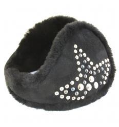 Cache-oreilles façon «tour de cou» noir avec rivets