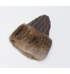 Bonnet en laine d'agneau et fourrure de lapin