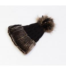 Bonnet en laine d'agneau et agneau retourné et fourrure de raccoon
