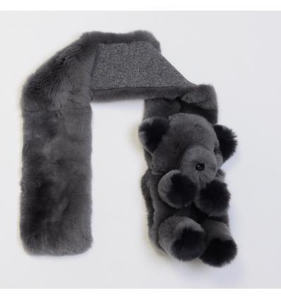 Col / Écharpe anthracite en fourrure de rex avec ourson