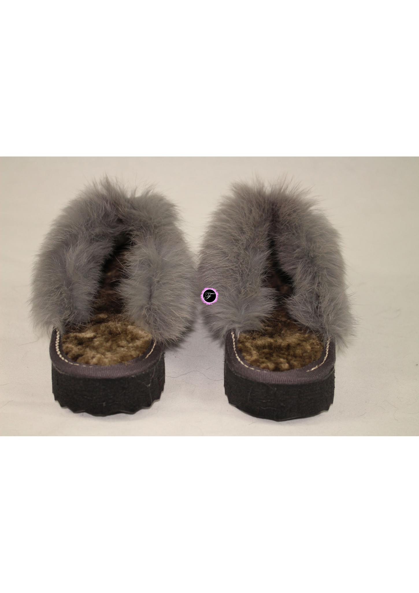 chaussons gris klio nubbuck fourrure de mouton et fourrure de lapin. Black Bedroom Furniture Sets. Home Design Ideas