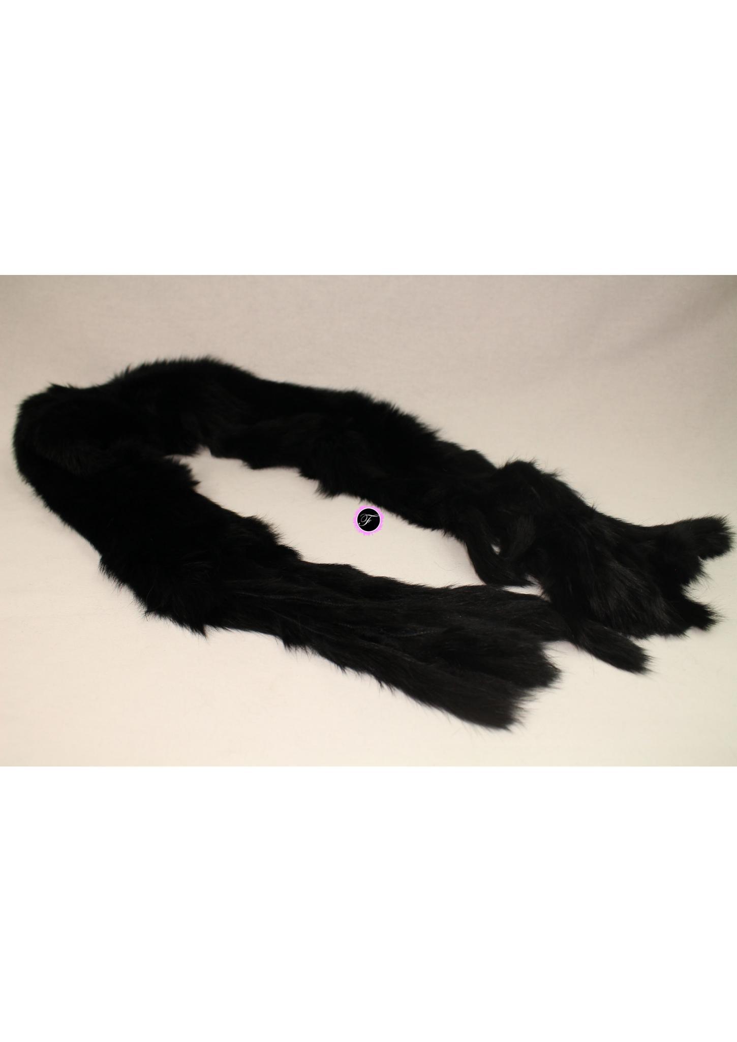 37408f84da9 Echarpe noire Fourrure de LapinO Fourrure de Lapin