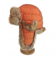 Chapka matelassée orange garnie de fourrure de lapin