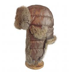 Chapka matelassée marron garnie de fourrure de lapin