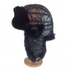 Chapka matelassée noire garnie de fourrure de lapin