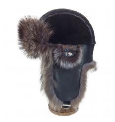 Chapka en Cuir, Daim, effet matelassé et Fourrure de Raccoon – Noire