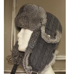 Chapka grise en laine, cuir et fourrure de lapin