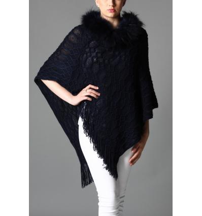 Poncho en laine avec col en fourrure de renard - Maillé et franges - Bleu foncé
