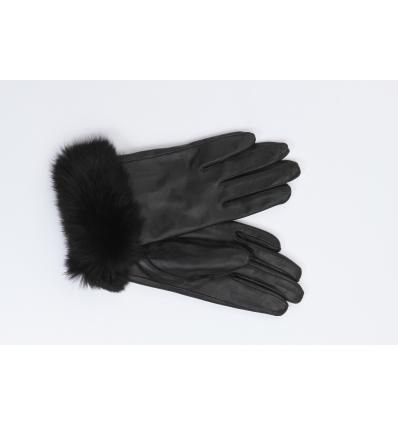 quality superior quality save up to 80% Paire de gants noirs avec poignets en lapin uni