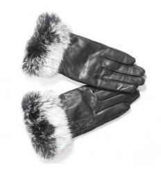Gants cuir noir avec poignets en fourrure argentée de lapin