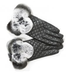 Paire de gants surpiqués avec poignets en lapin