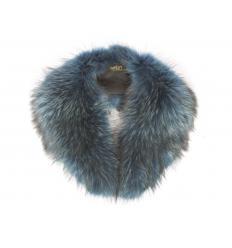 Grand col bleu électrique en fourrure de renard
