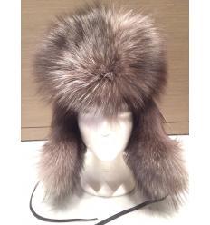 Chapka russe argentée en fourrure de renard et en cuir de nappa