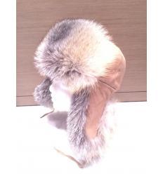 Chapka russe camel en fourrure de renard et en daim