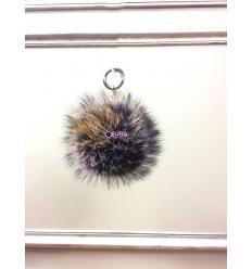 Porte-clé avec pompon en fourrure de renard - Violet / Rouille électrique