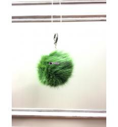 Porte-clé avec pompon en fourrure de renard - Vert clair électrique