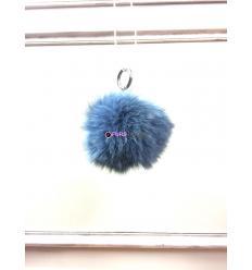 Porte-clé avec pompon en fourrure de renard - Bleu électrique