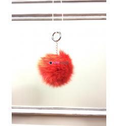 Porte-clé avec pompon en fourrure de renard - Orange électrique