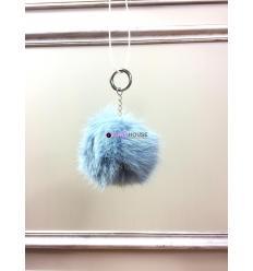 Porte-clé avec pompon en fourrure de renard - Turquoise électrique