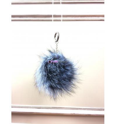 Porte-clé avec pompon en fourrure de renard - Cobalt électrique