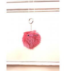 Porte-clé avec pompon en fourrure de renard - Rouge électrique