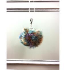 Porte-clé avec pompon en fourrure de renard - Multicolore