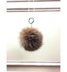 Porte-clé avec pompon en fourrure de renard - Marron