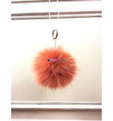 Porte-clé avec pompon en fourrure de renard - Orange