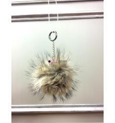 Porte-clé avec pompon en fourrure de finnraccoon