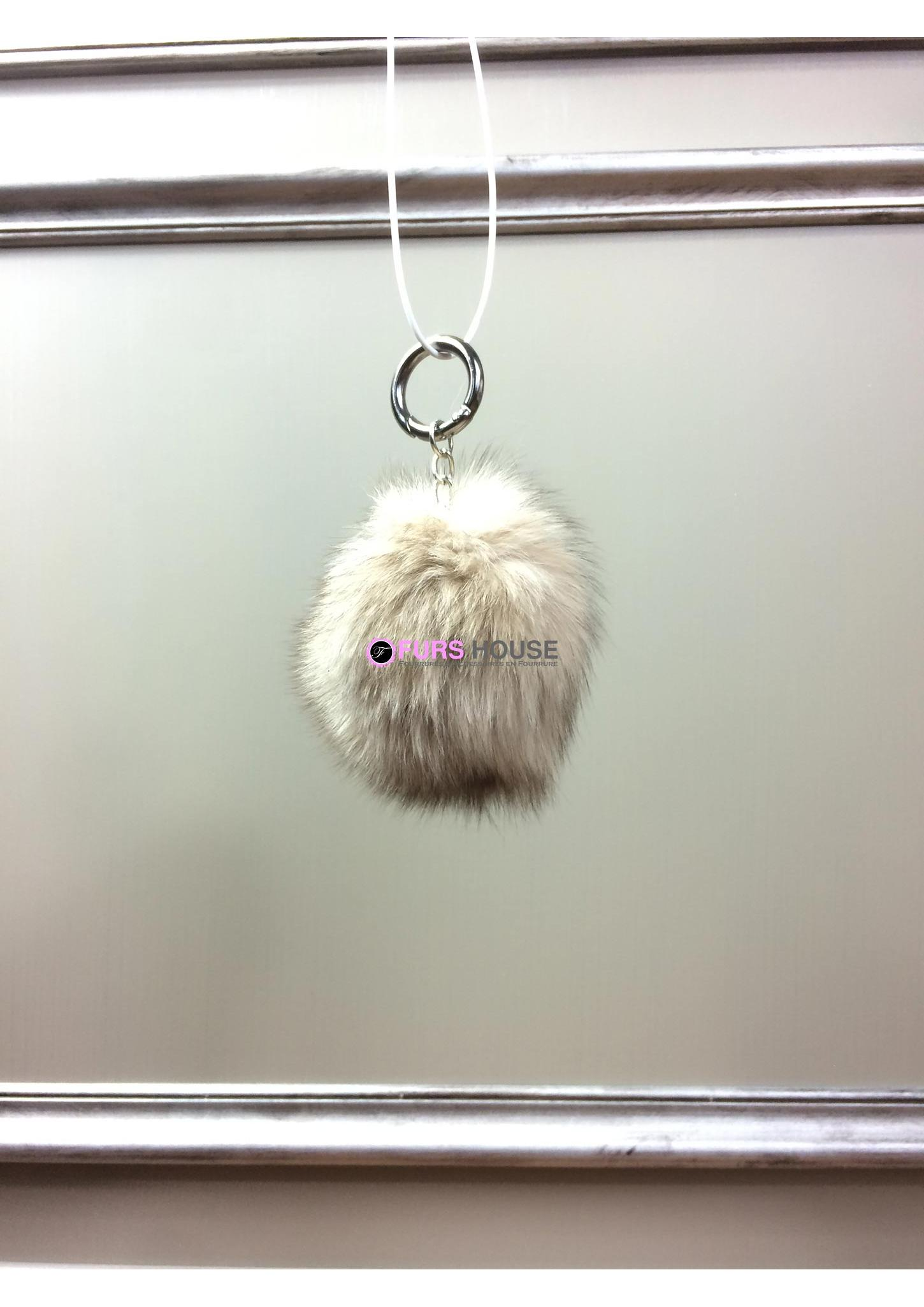 Porte-clé avec pompon en fourrure de renard - Naturel 57565e5e048