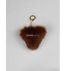 Porte-clé avec coeur en fourrure de vison - Marron