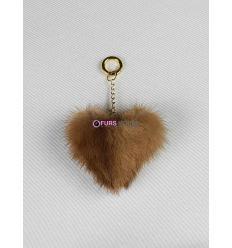 Porte-clé avec coeur en fourrure de vison - Châtain