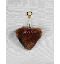 Porte-clé avec coeur en fourrure de vison - Midgold