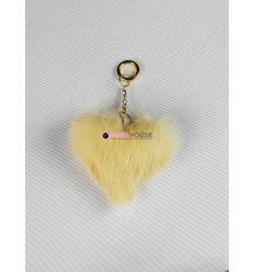 Porte-clé avec coeur en fourrure de vison - Crème