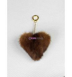Porte-clé avec coeur en fourrure de vison - Gold