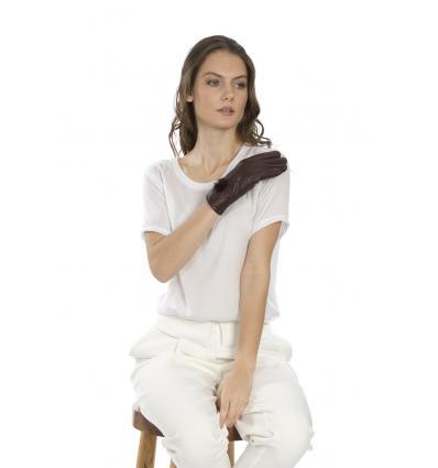 Gants en cuir bordeaux avec surpiqures et pompon en vison