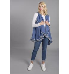 Cape bleue denim en laine bordée de lapin