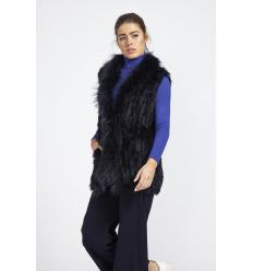 Gilet long bleu navy en lapin avec col et devanture en renard